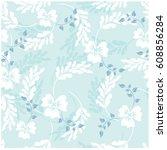 vector seamless pattern flowers  | Shutterstock .eps vector #608856284