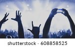 silhouettes of concert crowd in ... | Shutterstock . vector #608858525