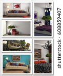 collage of modern home interior.... | Shutterstock . vector #608859407