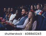 young women and men spending... | Shutterstock . vector #608860265