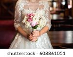 bride in white wedding dress... | Shutterstock . vector #608861051