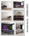 collage of modern home interior.... | Shutterstock . vector #608861831