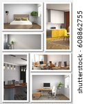 collage of modern interior. 3d... | Shutterstock . vector #608862755