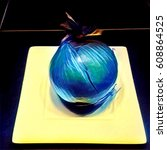 onion on plate in electric blue ...