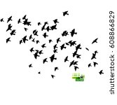 flock of birds silhouette.... | Shutterstock .eps vector #608866829