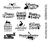 monochrome set logo for easter. ... | Shutterstock .eps vector #608869631
