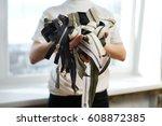 pile of zippers in tailor's... | Shutterstock . vector #608872385