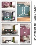 collage of modern home interior.... | Shutterstock . vector #608873294