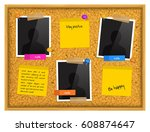 cork notice board with photo... | Shutterstock .eps vector #608874647