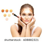 contouring.make up woman face....   Shutterstock . vector #608882321