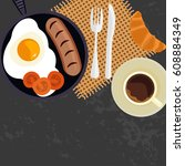 person is eating breakfast with ...   Shutterstock .eps vector #608884349