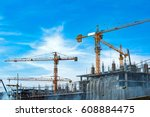 lots of tower construction site ... | Shutterstock . vector #608884475