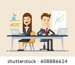 man and woman works together ... | Shutterstock .eps vector #608886614