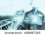 double exposure of engineer or... | Shutterstock . vector #608887265