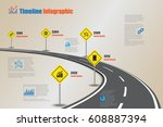 design template  road map... | Shutterstock .eps vector #608887394