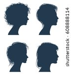 woman head vector silhouettes ... | Shutterstock .eps vector #608888114