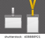 set of lanyard and badge.... | Shutterstock .eps vector #608888921