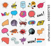 comic book speech bubbles and... | Shutterstock .eps vector #608889785