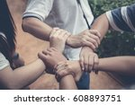 five arms with hands of girls...   Shutterstock . vector #608893751