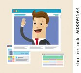 businessman on the web page.... | Shutterstock .eps vector #608894564