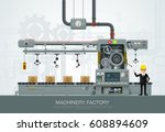 industrial abstract machine in... | Shutterstock .eps vector #608894609