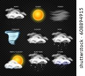 realistic weather vector icons... | Shutterstock .eps vector #608894915