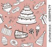 seamless pattern vector doodle... | Shutterstock .eps vector #608899679