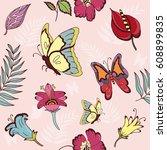 seamless pattern of spting... | Shutterstock .eps vector #608899835