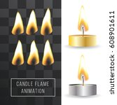 vector wax candle flame... | Shutterstock .eps vector #608901611
