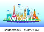 world   modern vector line... | Shutterstock .eps vector #608904161