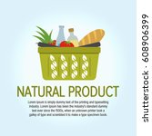 tree leaves icon. eco food... | Shutterstock .eps vector #608906399