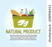eco food shopping logo design... | Shutterstock .eps vector #608906411
