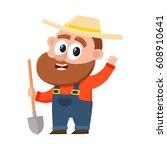 funny farmer  gardener... | Shutterstock .eps vector #608910641