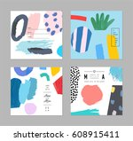 set of artistic creative... | Shutterstock .eps vector #608915411