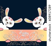 two vector white easter bunny... | Shutterstock .eps vector #608917289