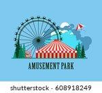 illustration poster amusement... | Shutterstock . vector #608918249