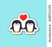 pinguins  sticker. vector... | Shutterstock .eps vector #608921105