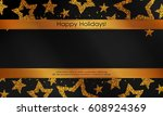 banner with stars from gold... | Shutterstock .eps vector #608924369