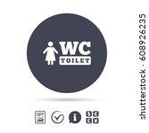 wc women toilet sign icon....   Shutterstock .eps vector #608926235
