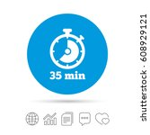timer sign icon. 35 minutes...   Shutterstock .eps vector #608929121