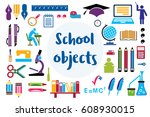 set of silhouettes of objects... | Shutterstock .eps vector #608930015