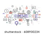 e commerce  online shopping and ... | Shutterstock .eps vector #608930234