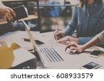 teamwork process concept.young... | Shutterstock . vector #608933579