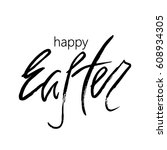 happy easter greeting card.... | Shutterstock .eps vector #608934305