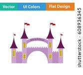 amusement park entrance icon.... | Shutterstock .eps vector #608936345