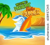 hello summer cartoon | Shutterstock .eps vector #608937245
