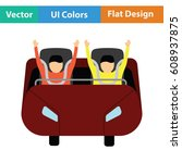 roller coaster cart icon. flat... | Shutterstock .eps vector #608937875
