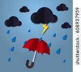 umbrella in the air with cloud...   Shutterstock .eps vector #608937959