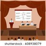 medical conference session in a ... | Shutterstock .eps vector #608938079