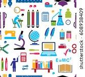 retro school colored... | Shutterstock .eps vector #608938409